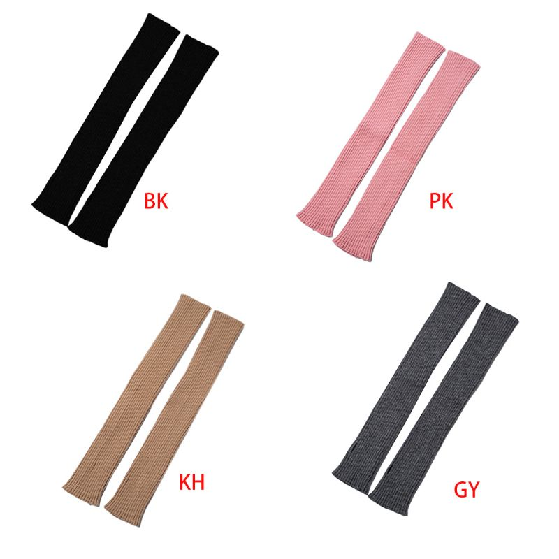 Women Winter Ribbed Knit Long Fingerless Gloves Over Elbow Arm Warmer Lady Female Casual Outdoor Sleeve Protector Case
