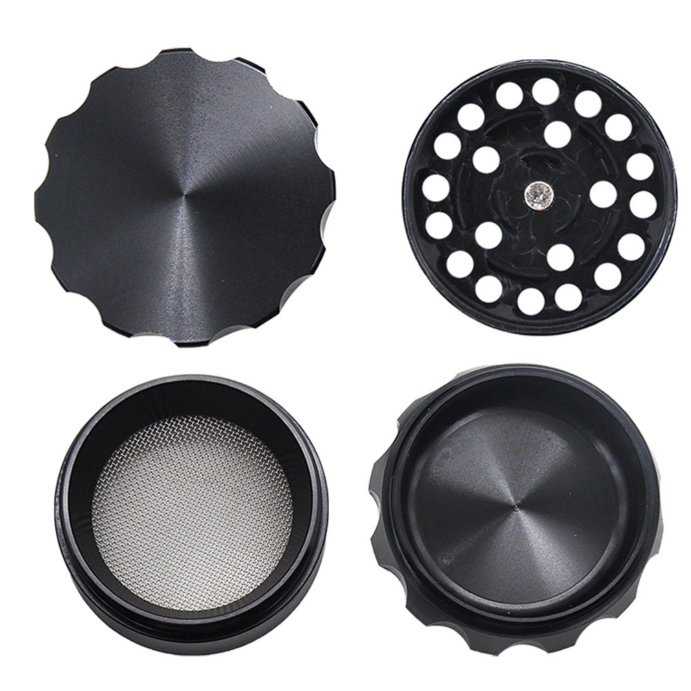Drum Style Metal Smoking Grinders With Pollen Catcher 50MM 4 Piece Aircraft Aluminum Herb Grinder Suit Pipe 3