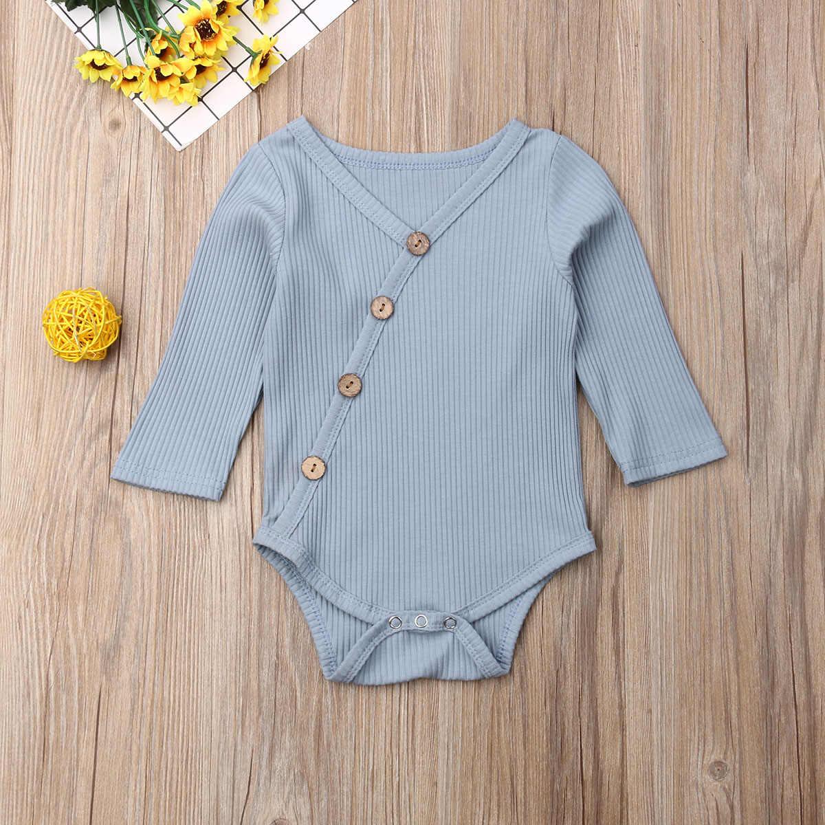 Bayi Baru Lahir Bayi Rompers Musim Semi Musim Gugur Anak-anak Anak Gadis Bergaris Jumpsuit Lengan Panjang Rajut Solid V Leher Atasan Pakaian Pakaian 0-24M