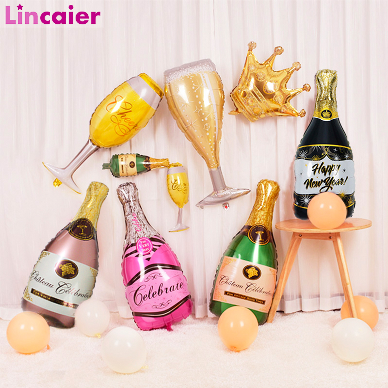 2pcs Big Champagne Balloons Graduation 2020 Party Decoration Gift Babyshower Boy Girl Just Married 30th 40th Birthday Supplies image