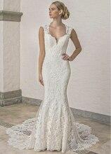 Robe de mariée style sirène, luxueuse, robe de mariée avec des appliques, avec des manches cape, dos nu, longue queue, bouton dentelle, modèle 2020