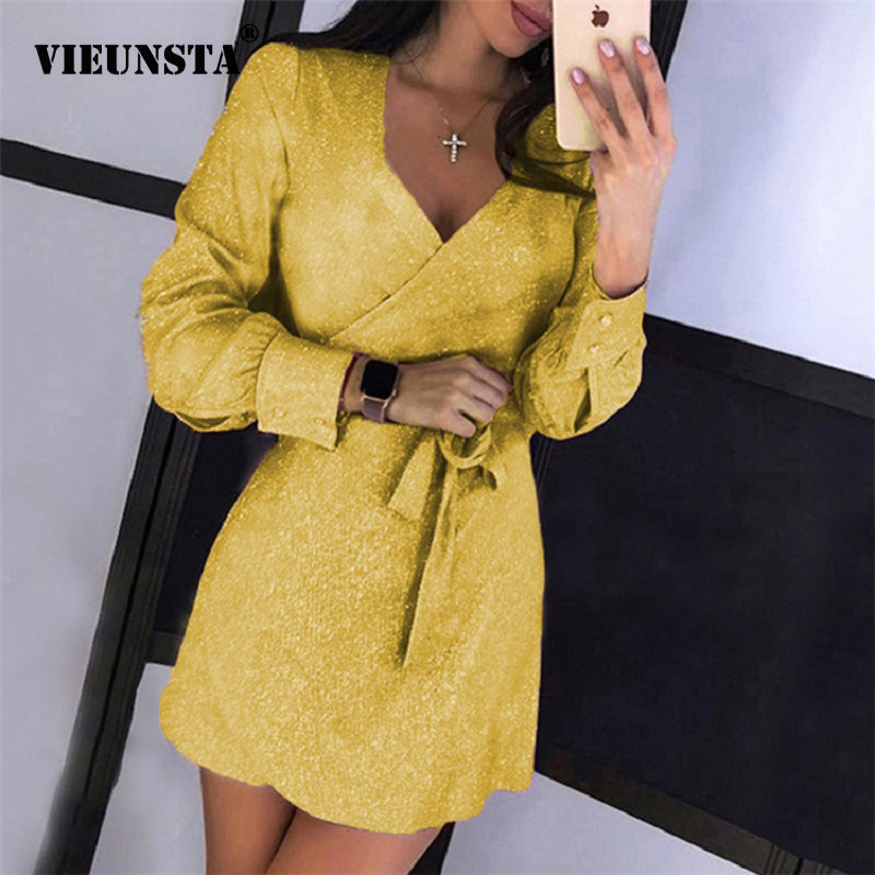 2XL Sexy Deep V-neck Glitter Dresses For Women 2019 Autumn Long Sleeve Belted Party Dress Ladies Bright Silk Shiny Bodycon Dress