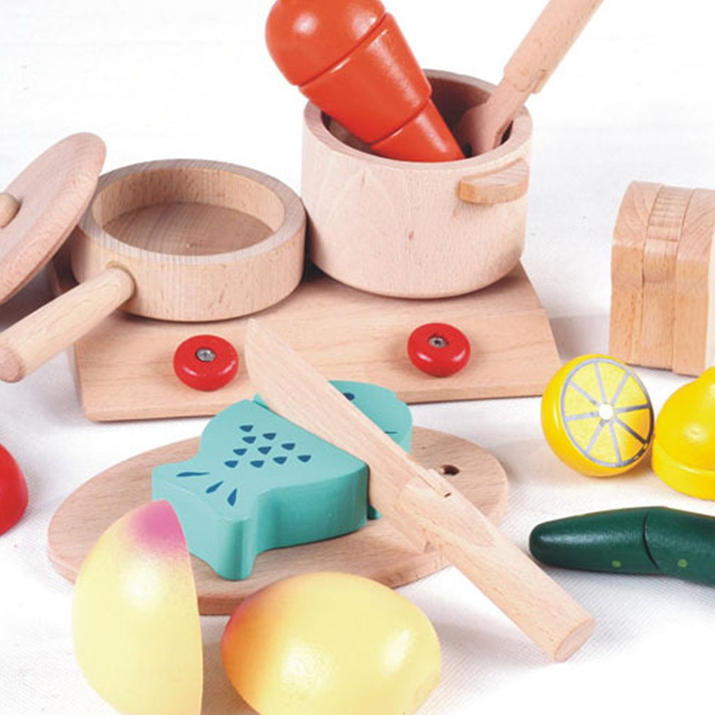 Wooden Simulation Toy Kitchen Gas Stove Toy Set Girl Play House Children Early Education Educational Toys