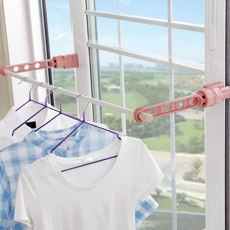 Creative ในร่ม Rack 5-Hole แขวนผ้า Travel หน้าต่าง Racks หอพัก Drying Rack แขวน Rod