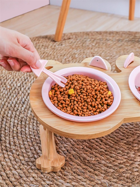 Ceramics Puppy Cat Dog Pet Single And Double Food Bowl For Eating And Drinking With Wooden Frame Pets Supplies Feeding Dish  My Pet World Store