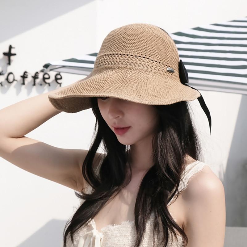 New Summer Bow Sun Hats Empty Top Hat Women UV Protction Caps Cutout Beach Hat Women Sun Cap Ribbon Knit Raffia Hat Sun Hat 3