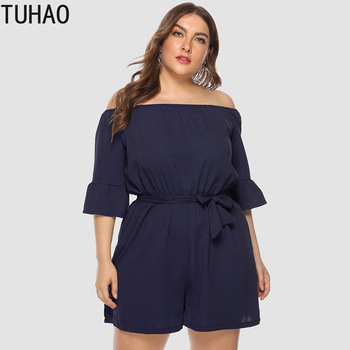 TUHAO Plus Size 4XL 3XL Overalls for Women Boho Style CASUAL Print Playsuit Women Female Rompers Short Jumpsuits