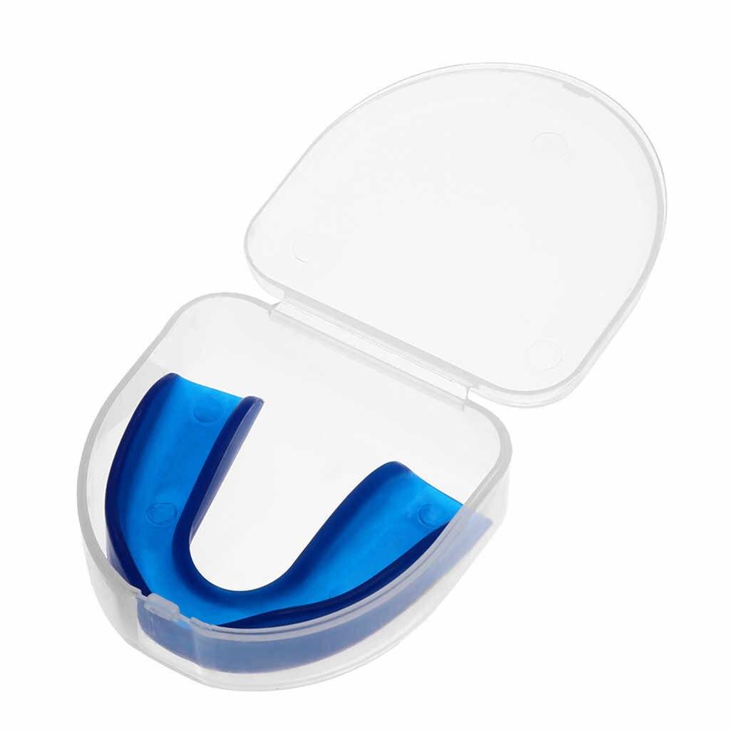 CHIARO Scudo Gum Denti Protector Mouth Guard Pezzo Da Rugby di pallacanestro di Sport di gioco del Calcio di rugby Boxe bretelle Resistente PVC dente manica