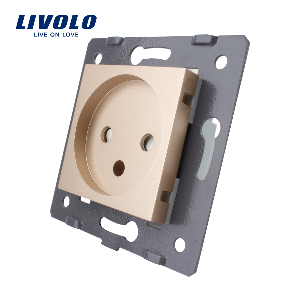 Livolo DIY Parts,Standard Israel Power Socket,Swizss Plugs, US UK Socket, Reset Switch Wall Power Socket, No Glass Panel,golden