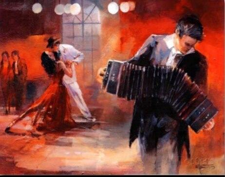 Ручная роспись характер Масляные картины сексуальная девушка стены искусства танцующая пара голландский живописец