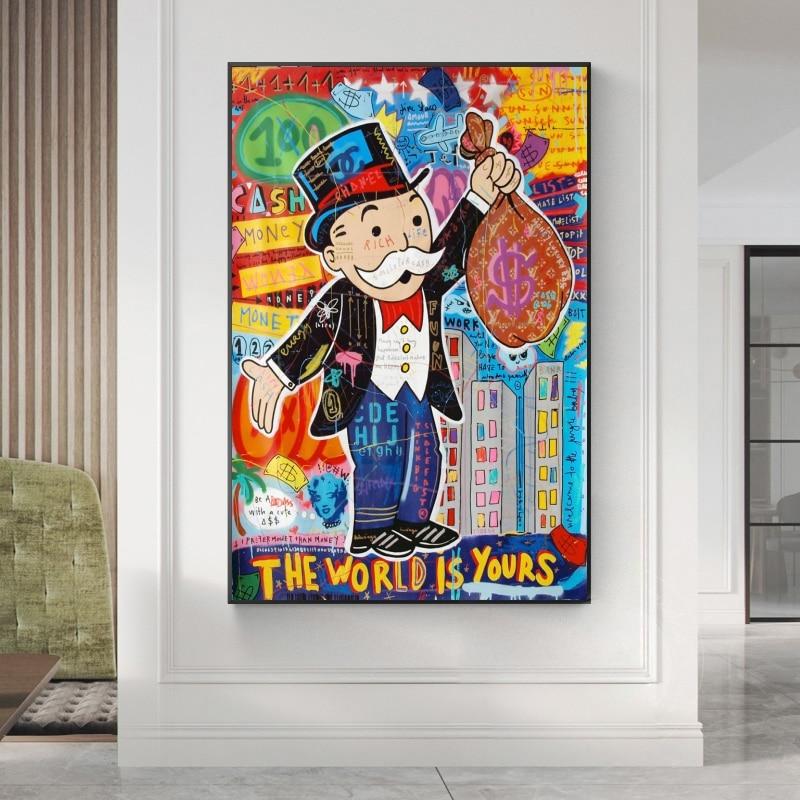Alec monopoly graffiti arte dinheiro quadros na parede arte da lona cartazes e impressões o mundo é seu moderno casa fotos