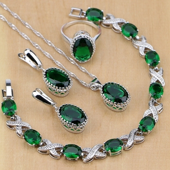 925 Sterling Silver Jewelry Green Emerald White CZ Jewelry Sets Women Earrings/Pendant/Necklace/Rings/Bracelet gorgeous golden citrine white cz engagement 925 gold silver pendant 26x15mm