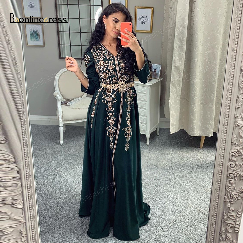 Moroccan Kaftan Evening Dresses Embroidery Appliques Long Evening Dress Full Sleeve Arabic Muslim Party-Dress Robe-de-soiree