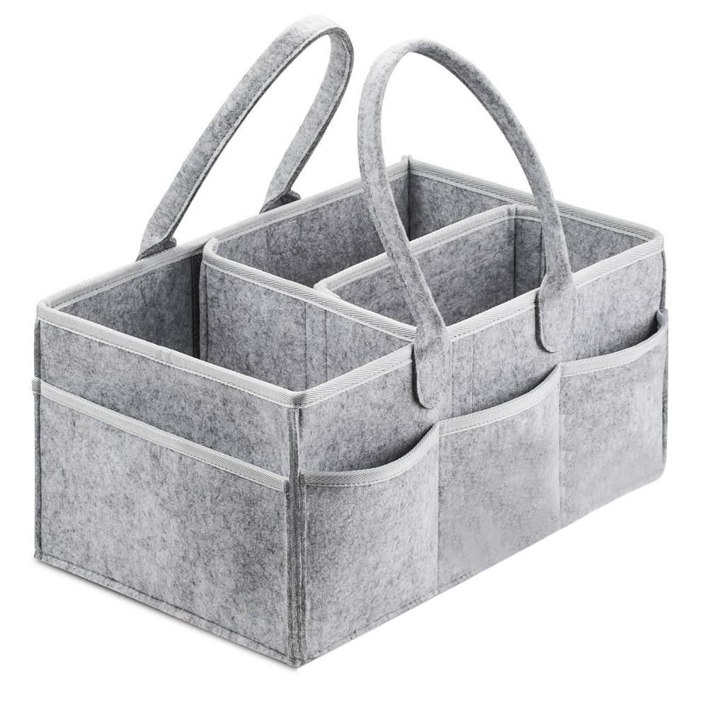 Foldable Felt Baby Diaper Changing Table And Car Nursery Essentials Storage Bins Baby Diaper Caddy Organizer Portable Holder Bag
