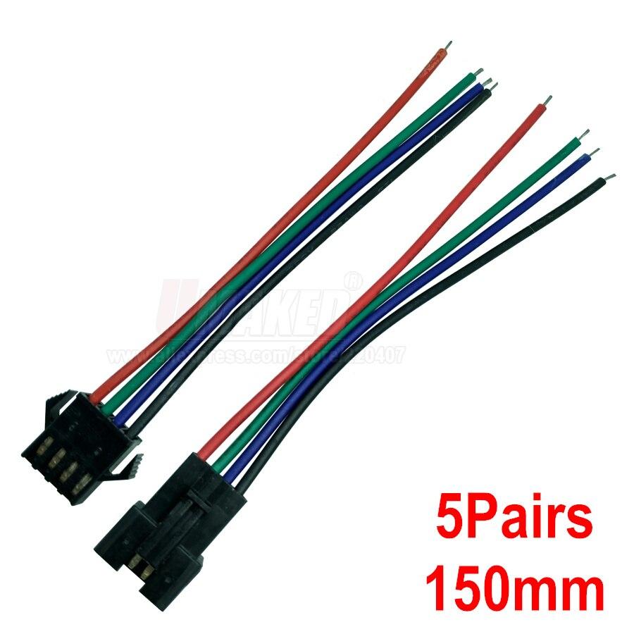 5 pares JST SM 4 pines/cabeza conector macho a hembra/cable conector rápido para tira led RGB, Conector de 4 pines Montaje neumático conector de empuje rápido tipo UE acoplador de alta presión trabajo en compresor de aire estándares europeos de alta calidad