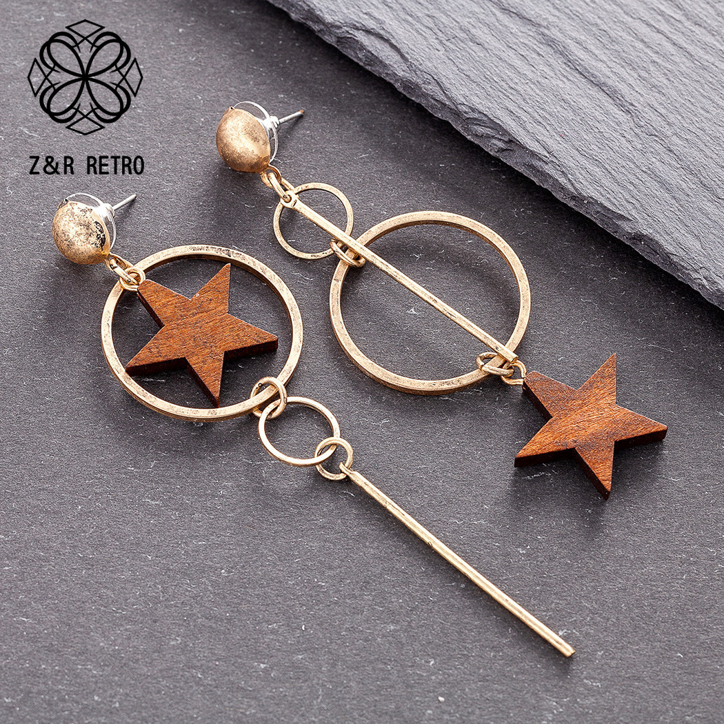 Wood Star Women's Earrings Vintage Accessories Unusual Fashion 2020 Jewelry Female Boho Long Hanging Gift For The Valentines Day