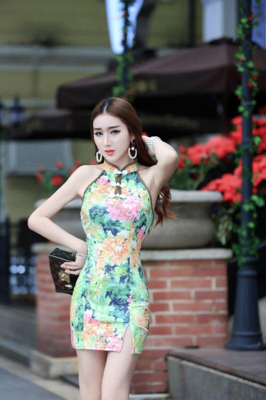 2019 Summer Sexy Cheongsam Nightclub WOMEN'S Dress Slit Short Skirt Halter Slim Fit Backless Sheath Dress H3667