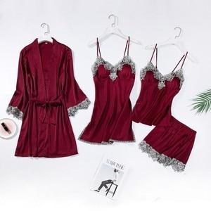 Image 2 - レーストリムブライダルウエディングローブ女性のセクシーなパジャマ緩い花嫁介添人着物バースドレスカジュアル浴衣 & 寝間着セット