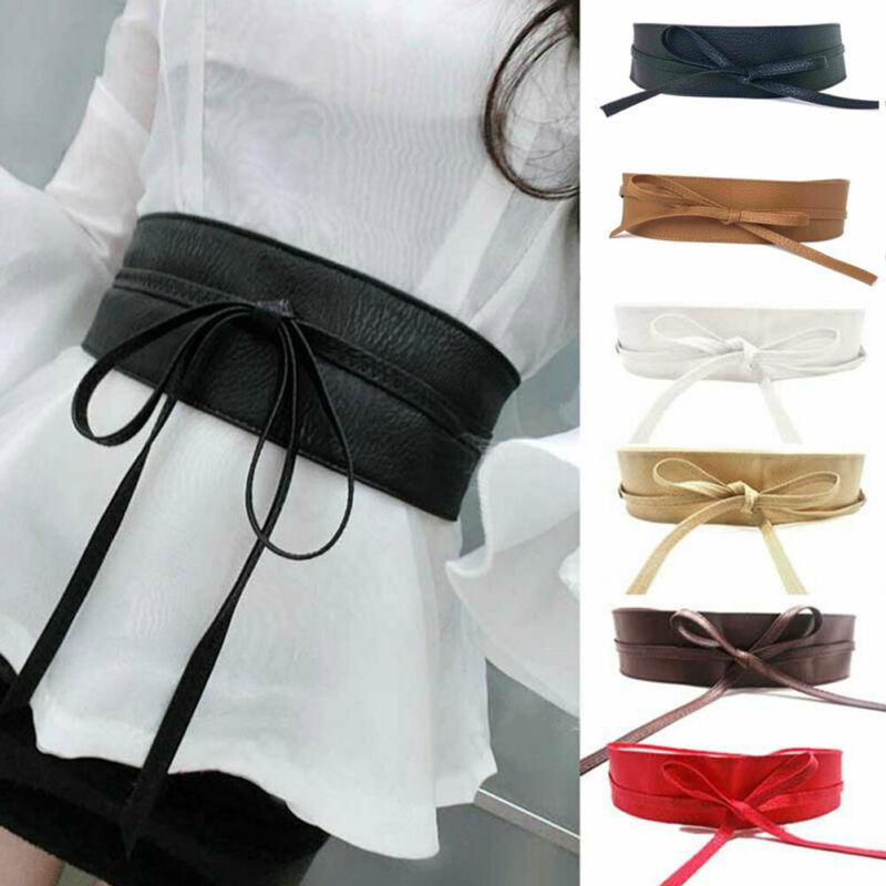 Goocheer 2019 New Fashion Women Lady Fashion Metallic Color Soft Faux Leather Wide Belt Self Tie Wrap Waist Mujer Dress
