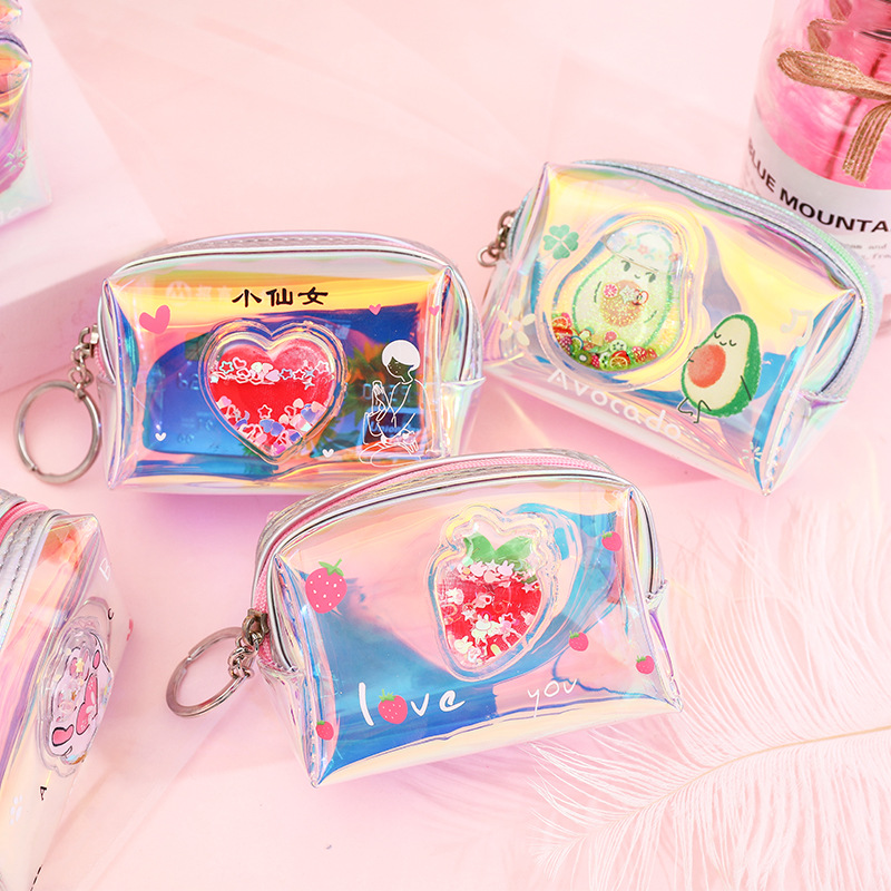 X0019 GIRL'S Heart Oil Into Quicksand Purse Laser Colorful Zip Coin Purse Storgage Bag Transparent Wallet