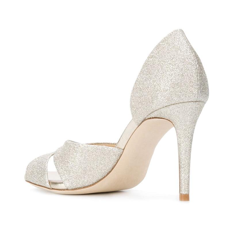 Zapatos de tacón alto para mujer zapatos de boda con puntera para mujer Zapatos de tacón blanco con purpurina 2019 elegantes zapatos de novia con tacón de aguja para mujer - 4