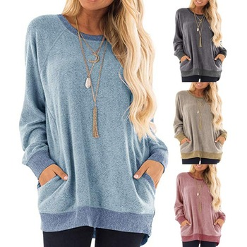 New round Neck Sweater Women's Contrasting Color Pocket Long Sleeve Pullover Shirt Fashion Leisure T-shirt black spell color round neck long sleeves t shirt