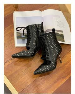 Image 4 - סקסי מתכת גבוהה דק עקבים שיק נשים נעלי הבוהן מחודדת עור אישה משאבות צד רוכסן מסמרות קשט מסלול מסיבת חתונה