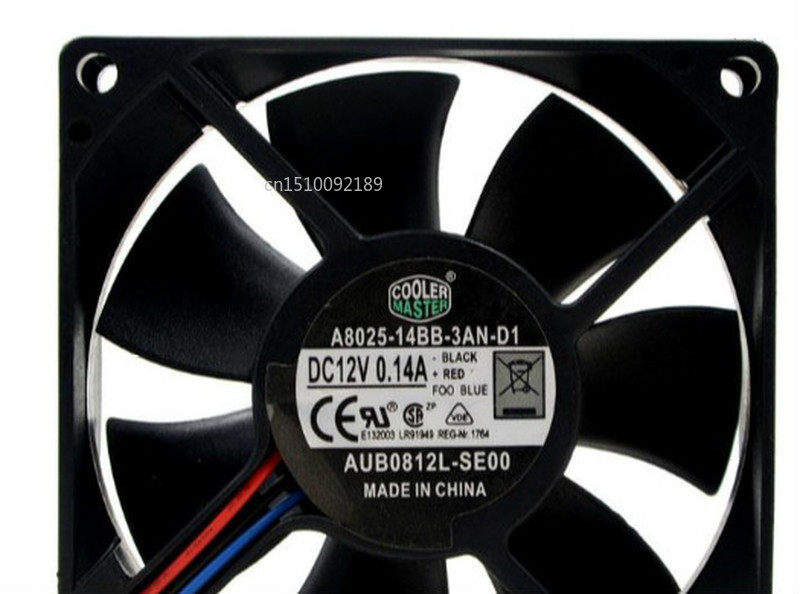 For A8025-14BB-3AN-D1 Cooling Fan DC 12V 0.14A 2400RPM 8025 8cm 80*80*25mm 3 Wires Free Shipping