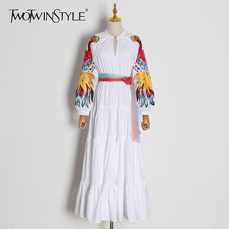TWOTWINSTYLE Elegant Embroidery Patchwork Women Dress O Neck Lantern Long Sleeve High Waist Lace Up Dresses Female 2020 Fashion