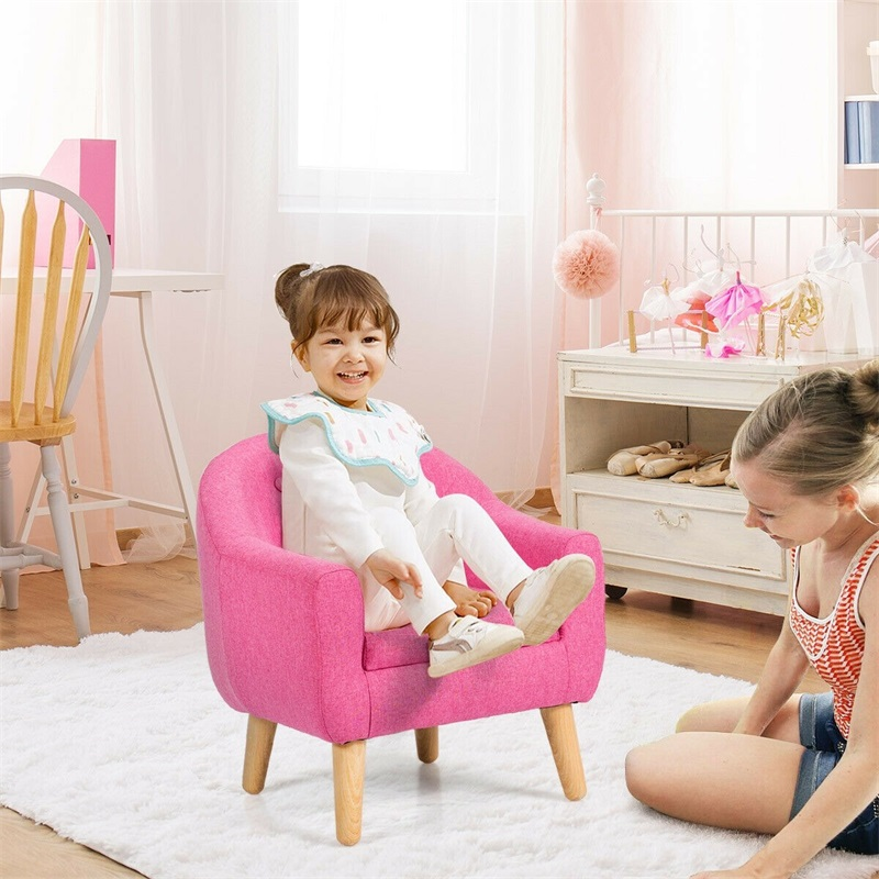 Toddler Child Leisure Comfortable Cute Single Sofa Durable Linen Eucalyptus Wood Kid Sofa Chair Comfortable Sponge Seat HW61182