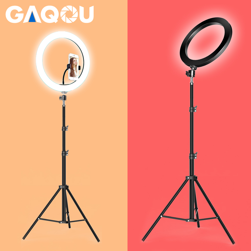 Dimmable LED Ring Light Camera Photo Studio Photography Video Makeup Ring Lamp for Youtube VK Selfie Mobile Phone with Tripod image