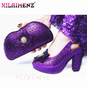 Image 3 - Latest Italian Spring Sandals Shoes And Bag To Match Set For Party Fashion Rhinestone Pumps Shoes And Bag Set in Wine