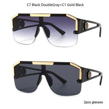 2021 New Fashion Big Square Sunglasses Men Style Gradient Trendy Driving Retro Brand Design Sun Glasses UV400 Wholesale Dropship - C7 and C1