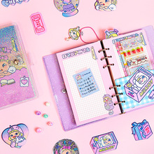 Criativo doces transparente coreia kawaii escola estudante 6 anéis binder espiral notebooks bruxa dos desenhos animados folhas coloridas artigos de papelaria
