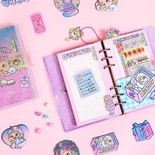 크리 에이 티브 캔디 투명 한국 kawaii 학교 학생 6 반지 바인더 나선형 노트북 마녀 만화 다채로운 시트 편지지