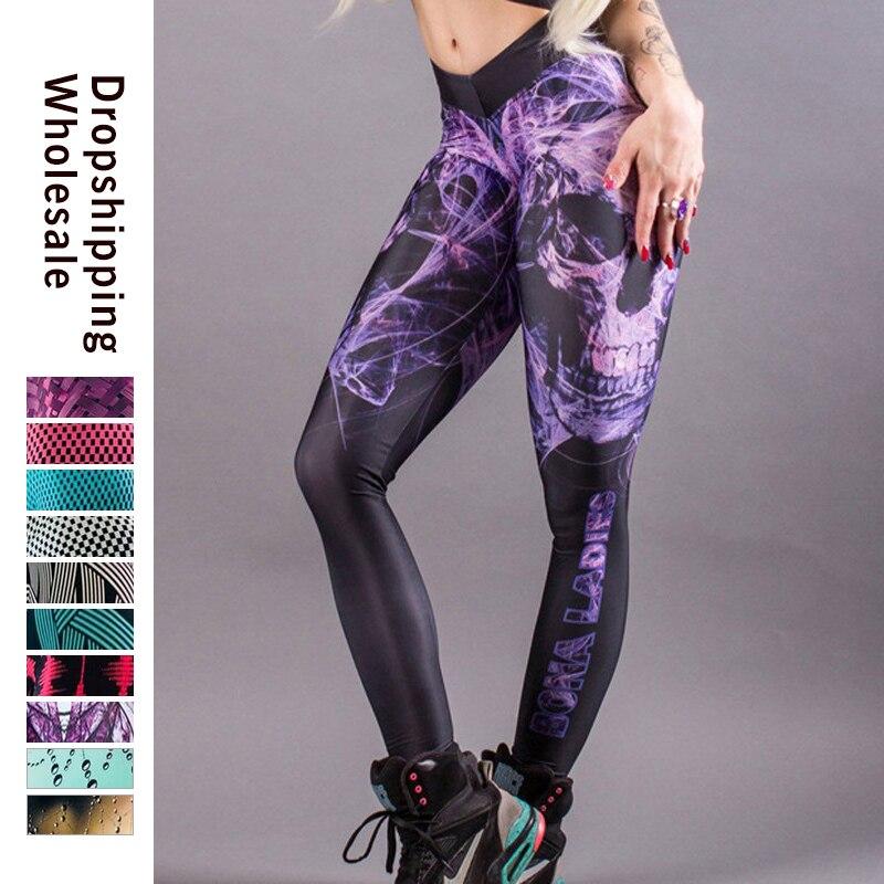 Fashion Push Up Leggings Women Workout Leggings Slim Print Leggings Polyester High Waist Jeggings Women Pants For Dropshipping