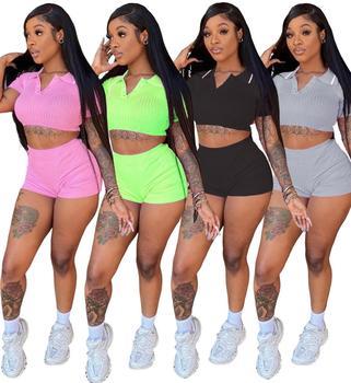 Для женщин, комплект из 2 предметов, комплект летней 2020 кроп-топы и короткие Комплект из двух предметов в комплекте с набором подходящих сумочек для клуба Для женщин комплект одежды, состоящий из верха пикантные неоновый зеленый розовый комплект с шортами