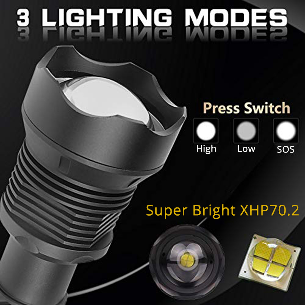 alta potencia xhp90 usb lanterna led recarregavel 04