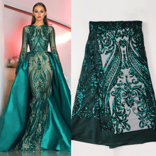 1 Yard dark Green Lace Material Hot Glued Glitter tissus America Fabric For Evening Dress Dry Mesh Sequin