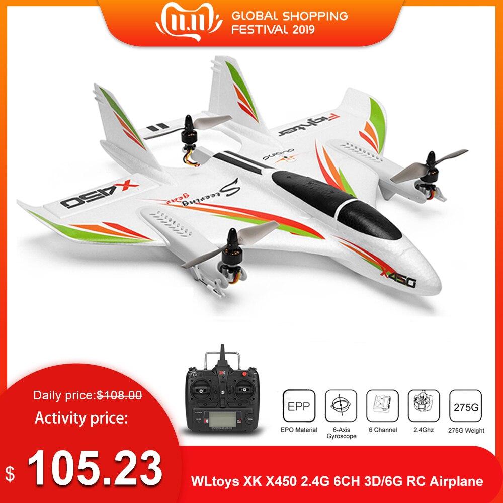 Wltoys xk x450 2.4g 6ch 3d/6g rc avião sem escova decolagem vertical led rc planador asa fixa rc aeronave rtf rc brinquedo para criança