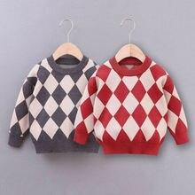 Осень-зима теплая одежда для малышей Свитера для мальчиков пуловер с длинными рукавами в клетку с принтом Повседневная Одежда Топы джемпер из мягкого хлопка