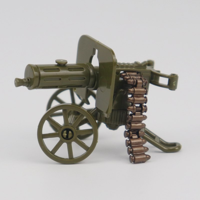 Locking Military WW2 War The Green Heavy Gun with Bullet Toy Building Blocks Toys For Children Assemble Blocks Military Gifts