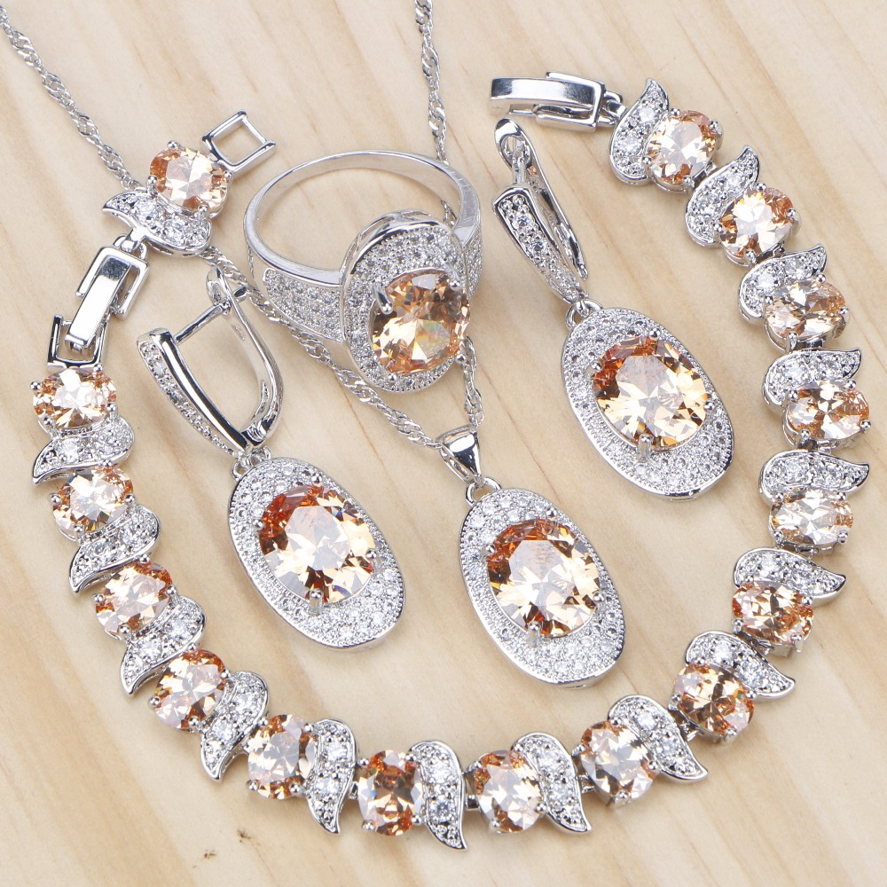 Wedding Champagne Cubic Zirconia Bridal Jewelry Sets Women Silver 925 Jewelry With Stone Earrings Bracelet Ring Necklace Set