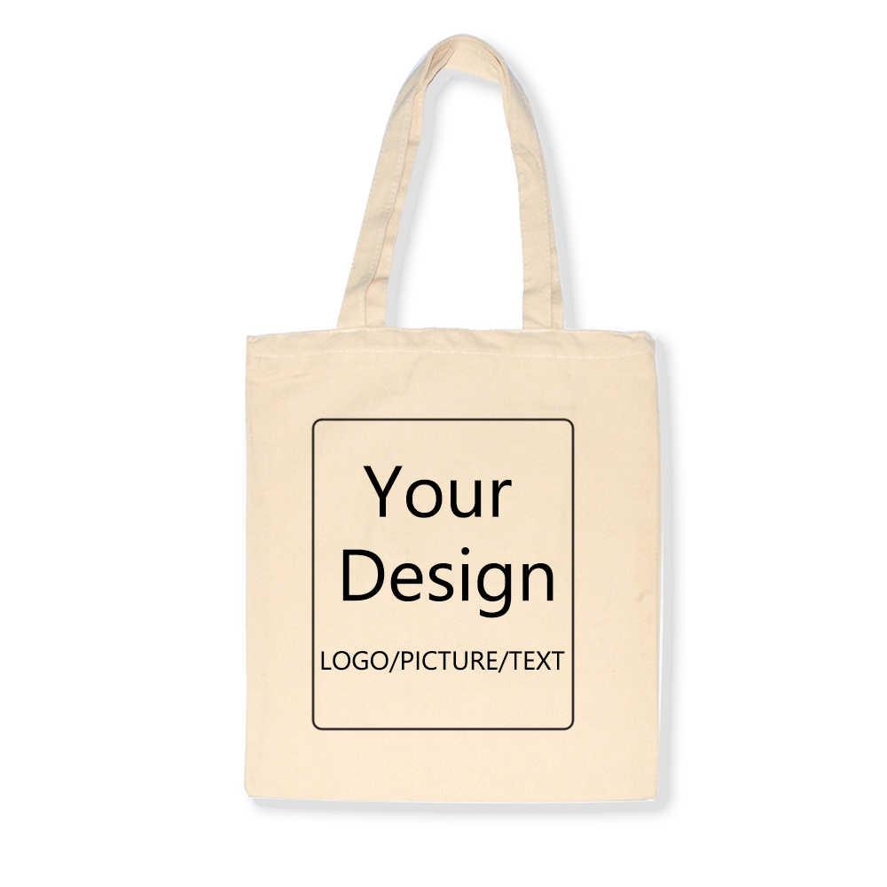 Добавьте свой дизайн логотипа/изображения/текста на заказ холщовые сумки сумка для покупок с принтом оригинальный дизайн белый унисекс путешествия черный