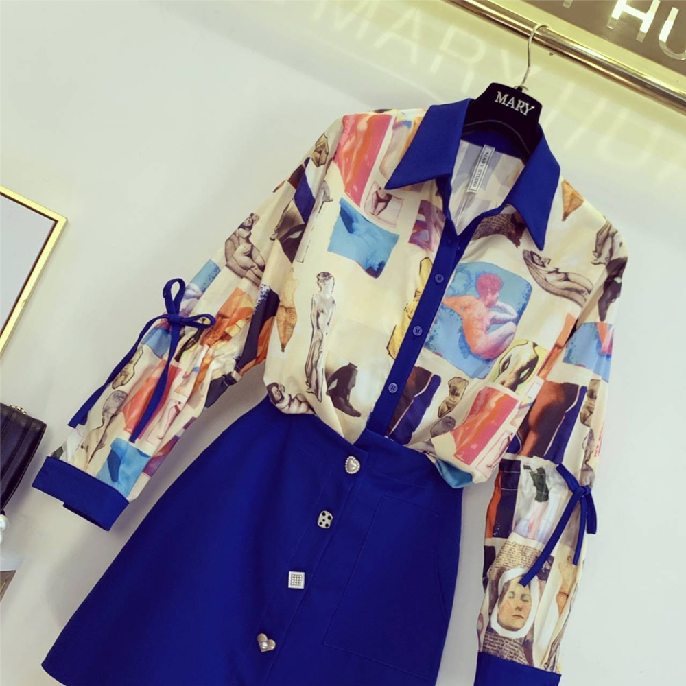 Autumn New Women's Fashion Printed Long Sleeve Shirt + Irregular Skirt Two-piece Suit Femme Office Wear Outfit Women Lady Sets