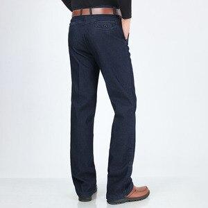 Image 4 - Big Size Classic Business Jeans Voor Mannen Herfst Winter Mannelijke Toevallige Hoge Kwaliteit Dikke Fleece Warme Elastische Denim Broek Maat 30 44