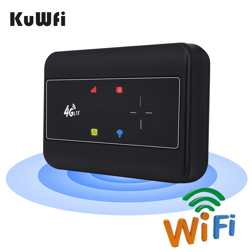 KuWFI Portable 4G LTE Router 3G/4G Wifi SIM Router Modem Pocket Wi-fi Mobile Hotspot Car Wi-fi Router With Sim Card Slot 1