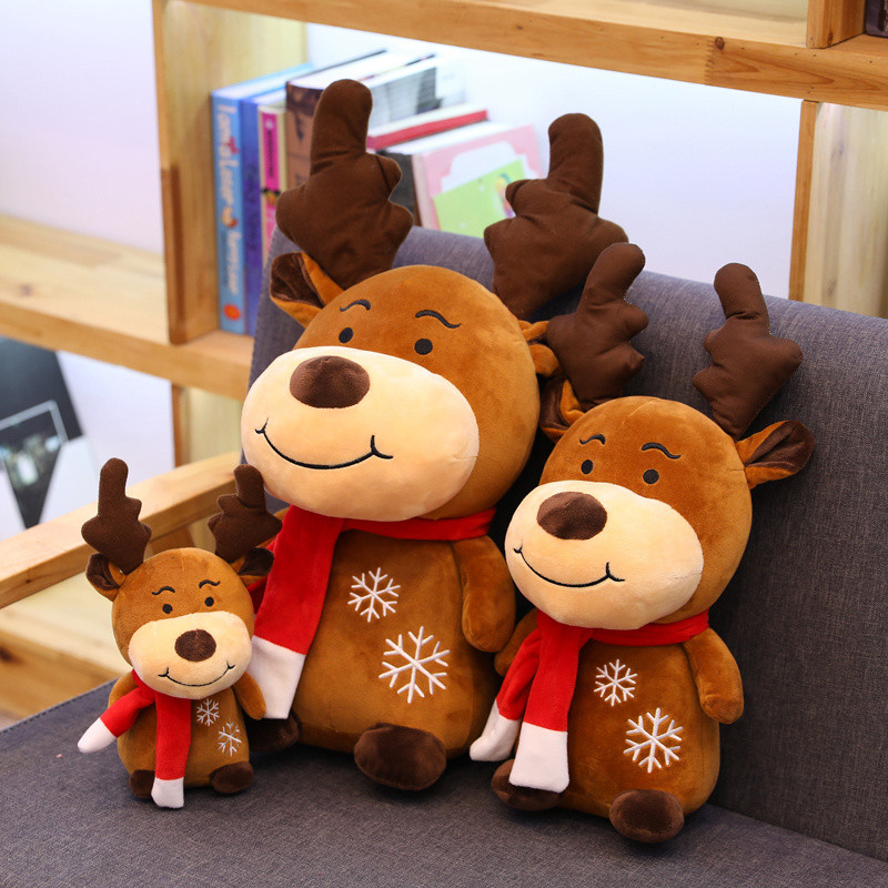 Cute Elk Doll Stuffed Animal Soft Toys Creative Red Scarf Reindeer Plush Doll Kids Toy Christmas New Year Gift Children Kids Toy