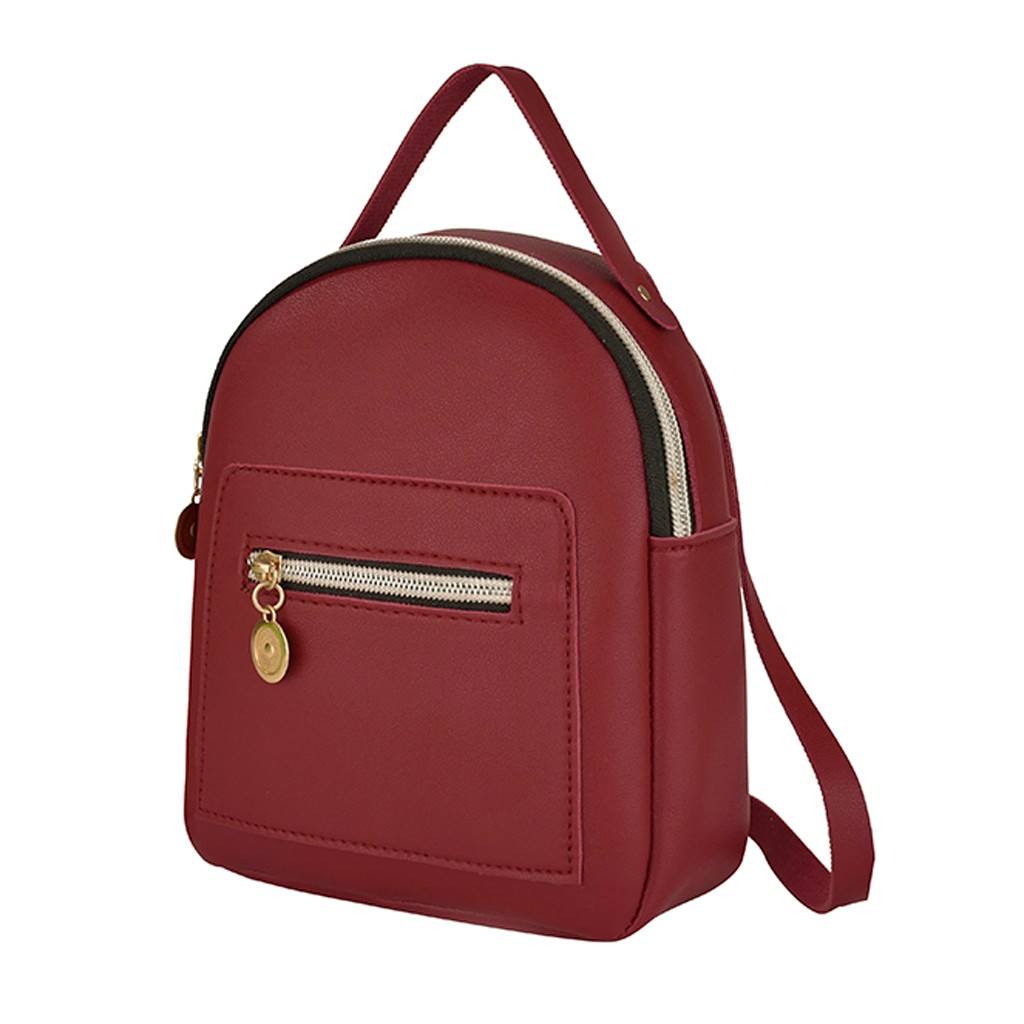 Female Soft PU Leather Mini Backpacks Students Shoulder Schoolbags Women Fashion Small Travel Bag BackPack