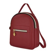 Female Soft PU Leather Mini Backpacks Students Shoulder Schoolbags Wome